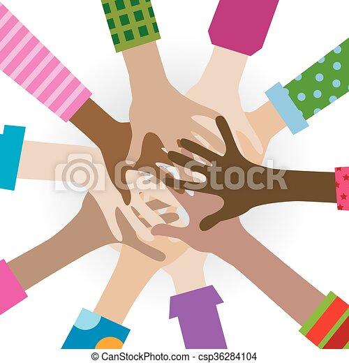 mani, diverso, affiatamento - csp36284104