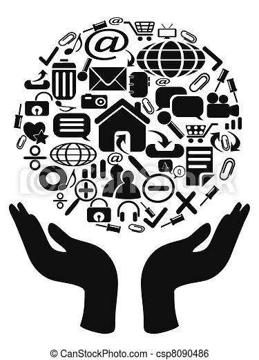 mani, presa a terra, icone - csp8090486