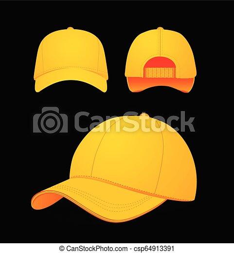 manichino, berretto, illustrazione, scuro, fondo., vettore, baseball, disegno - csp64913391