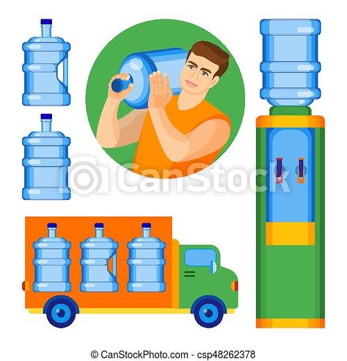 manico, due, acqua, senza, gallone, bottiglie - csp48262378