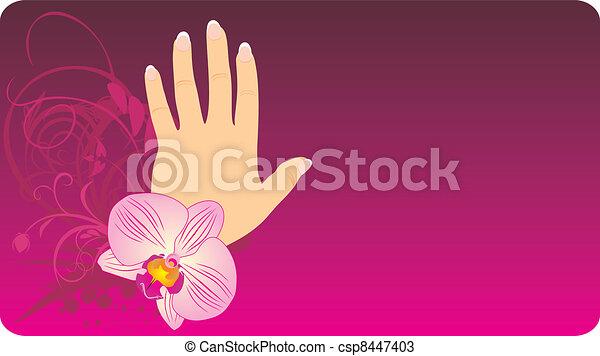 Manicura francesa orqudea Orchid manicura ilustracin