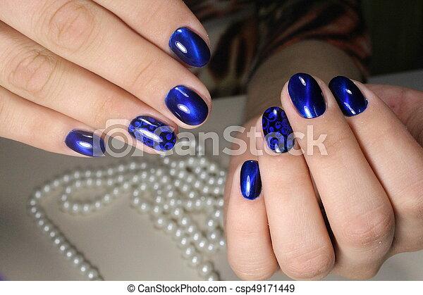 Manicure Design Blue Nails Gentle Manicure Nail Design Gel With