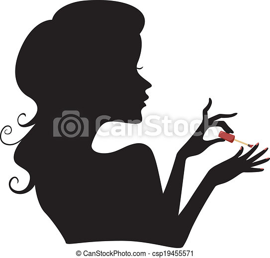 Manicure Girl Silhouette - csp19455571