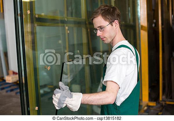 maniement, vitrier, verre, atelier - csp13815182