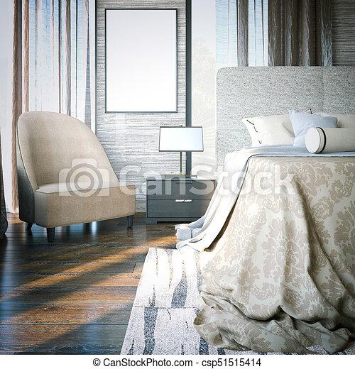 manifesto, 3d, vuoto, bedroom., interpretazione - csp51515414