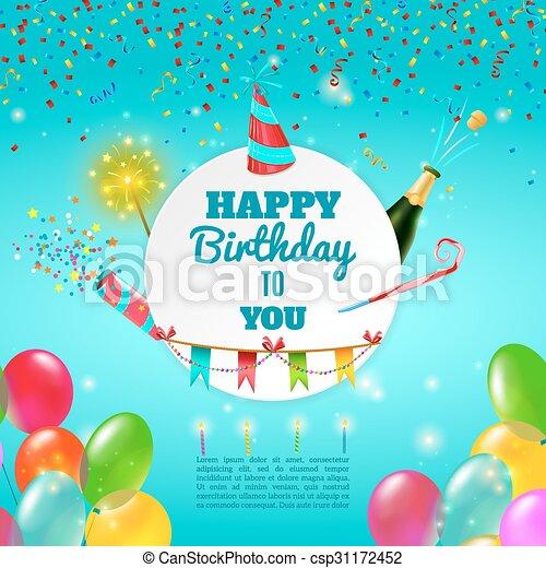 manifesto, compleanno, felice, fondo, celebrazione - csp31172452