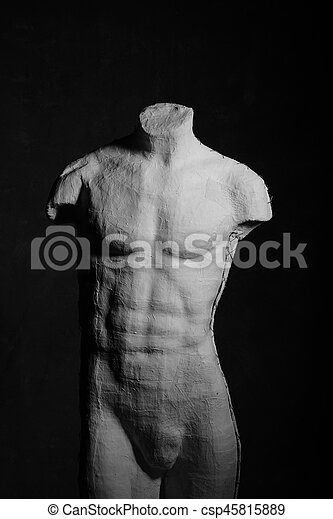 Manikin Body Over Dramatic Background. Anatomy, Muscle Concept. - csp45815889