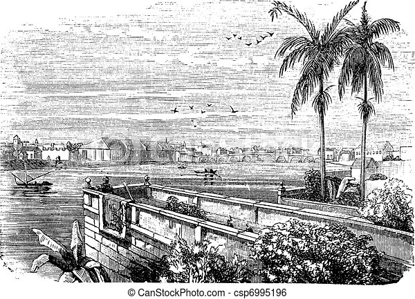 Manila or Pearl of the Orient in Philippines vintage engraving - csp6995196