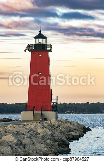 Manistique Lighthouse at Dawn - csp87964527