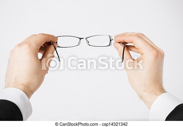 mann, brille, halten hände - csp14321342