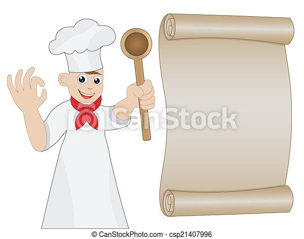 mann, hand, löffel, koch - csp21407996