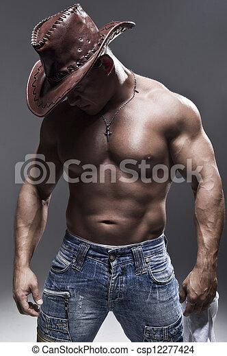 mann, hut, muskulös, cowboy - csp12277424