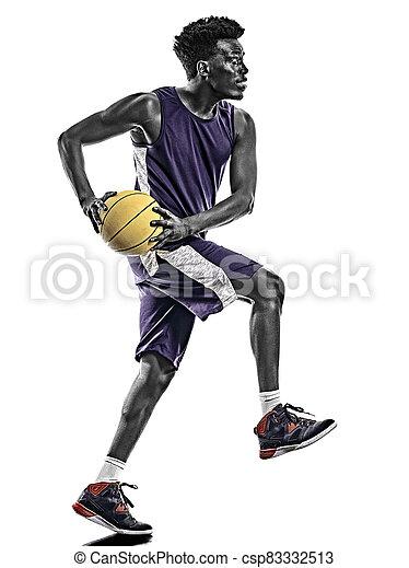 mann, junger, freigestellt, basketball, afrikanisch, hintergrund, spieler, weißes - csp83332513