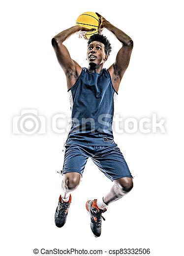 mann, junger, freigestellt, basketball, afrikanisch, hintergrund, spieler, weißes - csp83332506