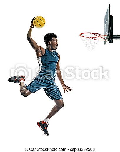 mann, junger, freigestellt, basketball, afrikanisch, hintergrund, spieler, weißes - csp83332508