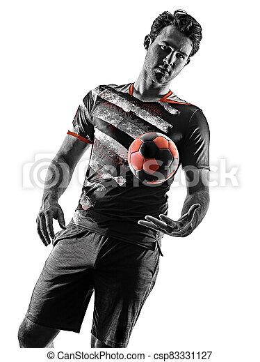 mann, junger, silhouette, freigestellt, handball, gericht, spieler, hintergrund, weißes, schatten - csp83331127