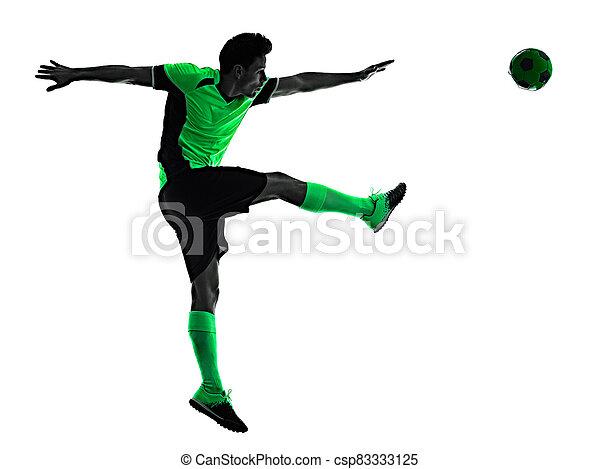 mann, junger, silhouette, freigestellt, hintergrund, spieler, weißes, schatten, fußball - csp83333125
