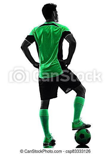 mann, junger, silhouette, freigestellt, hintergrund, spieler, weißes, schatten, fußball - csp83333126
