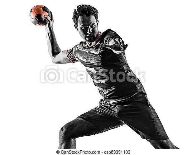 mann, junger, silhouette, freigestellt, handball, gericht, spieler, hintergrund, weißes, schatten - csp83331103