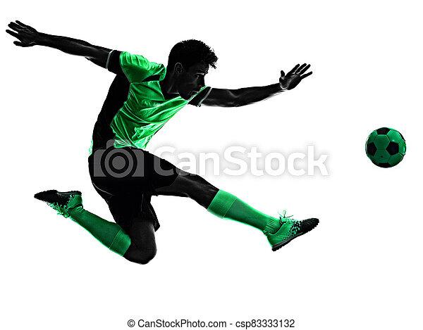 mann, junger, silhouette, freigestellt, hintergrund, spieler, weißes, schatten, fußball - csp83333132