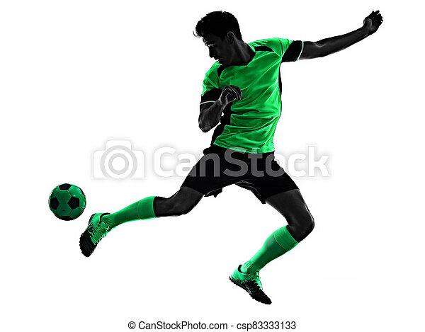 mann, junger, silhouette, freigestellt, hintergrund, spieler, weißes, schatten, fußball - csp83333133