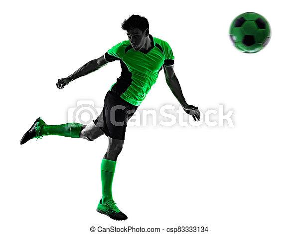 mann, junger, silhouette, freigestellt, hintergrund, spieler, weißes, schatten, fußball - csp83333134