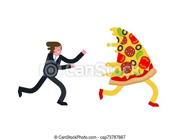 mann, läufe, vektor, isolated., pizza, abbildung, hunger - csp73787667