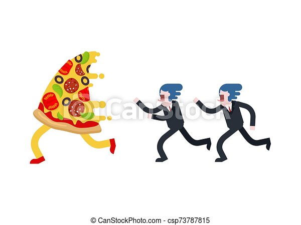 mann, läufe, vektor, isolated., pizza, abbildung, hunger - csp73787815