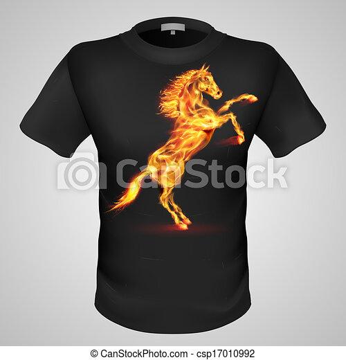Männliches T-Shirt mit Druck. - csp17010992
