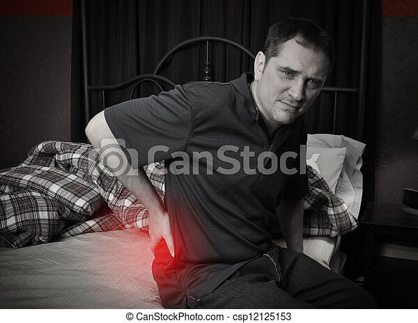 mann, schmerz, zurück, bett, sitzen - csp12125153