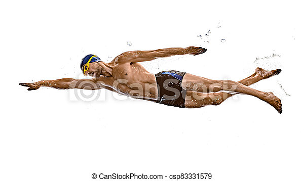 mann, schwimmender, freigestellt, hintergrund, weißes, sport, schwimmer - csp83331579