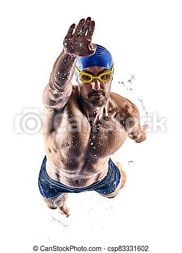 mann, schwimmender, freigestellt, hintergrund, weißes, sport, schwimmer - csp83331602
