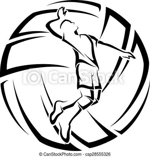 mann, volleyball, akzent - csp28555326