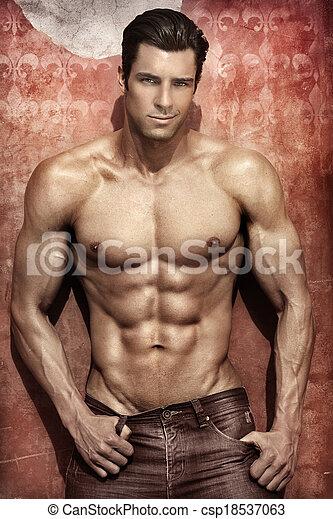 mannelijke , model, sexy - csp18537063