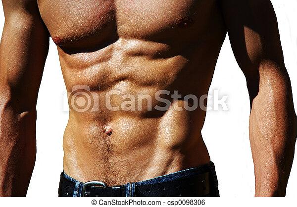 mannelijke , torso, rippling - csp0098306