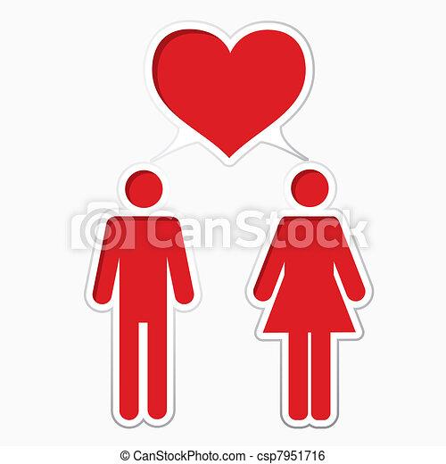 mannelijke , vrouwlijk, hartelijk - csp7951716