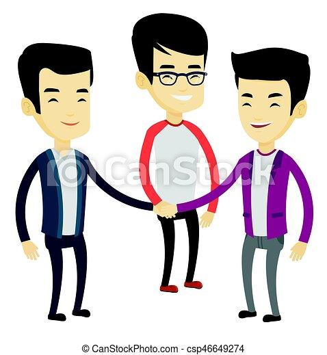 mannen, groep, hands., zakelijk, aansluiting - csp46649274