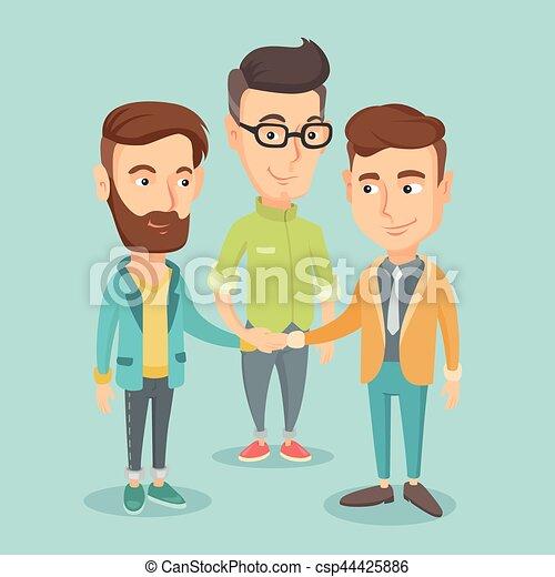 mannen, groep, hands., zakelijk, aansluiting - csp44425886