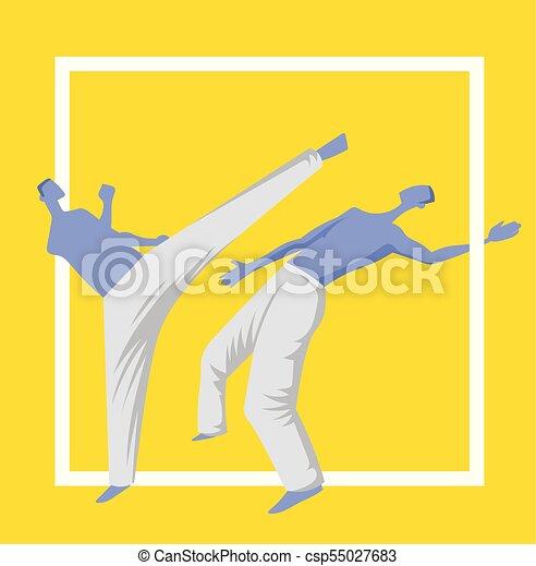 mannen, poster., illutration, capoeira, twee, traditionele , krijgshaftig, vector, fighting., mal, braziliaans, sportende, art. - csp55027683