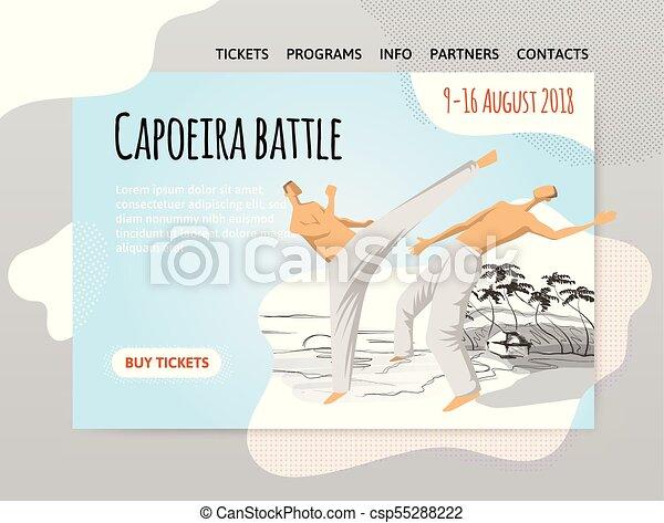mannen, poster., illutration, capoeira, twee, traditionele , krijgshaftig, bouwterrein, vector, fighting., mal, braziliaans, sportende, spandoek, of, art. - csp55288222
