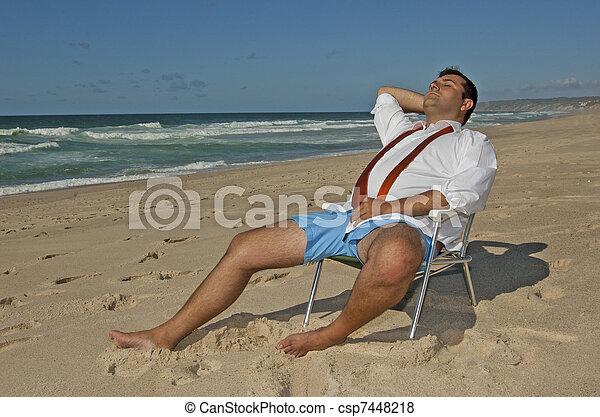 !, mannen, strand, relaxen, zakelijk - csp7448218