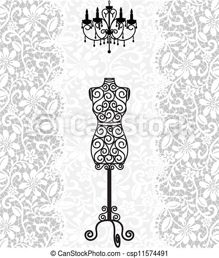 mannequin and chandelier on lace background - csp11574491