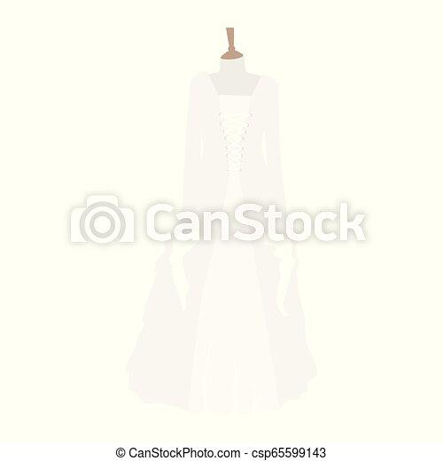 Colección de vestidos de boda. Vestido blanco en maniquí. - csp65599143