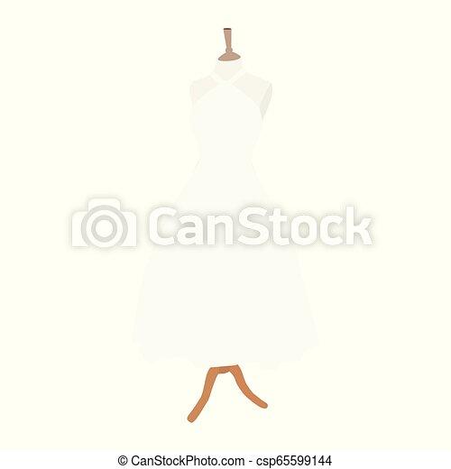 Colección de vestidos de boda. Vestido blanco en maniquí. - csp65599144