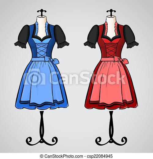 ebf2863dc mannequin., dibujado, mano, vestido, falda acampanada