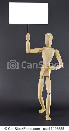 Mannequin marching with board - csp17446588