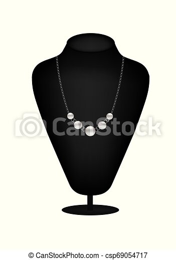 Mannequin silhouette with pearl necklace - csp69054717