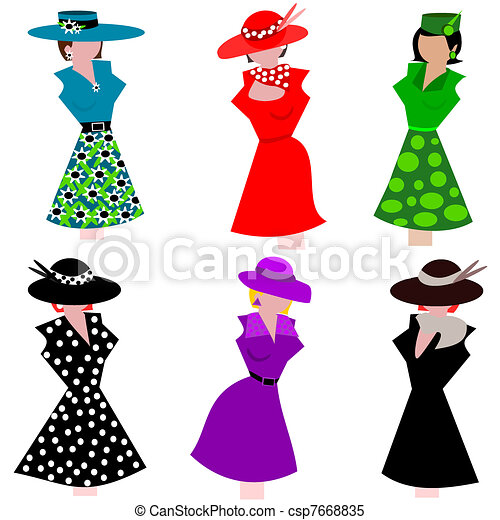 mannequins in stylish dresses and hats clipart vector search rh canstockphoto com prom dresses clipart wedding dresses clipart