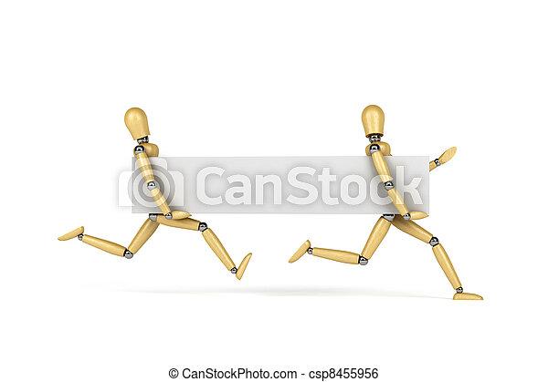 Mannequins running with banner - csp8455956