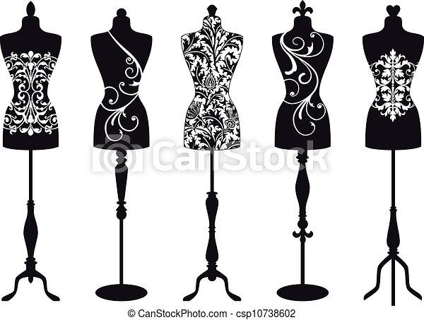 mannequins, vektor, mód, állhatatos - csp10738602